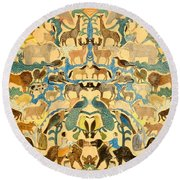 Antique Cutout Of Animals  Round Beach Towel