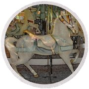 Antique Dentzel Menagerie Carousel Horse Colored Pencil Effect Round Beach Towel
