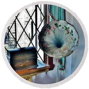 Antique Edison Phonograph In The Boardwalk Plaza Lobby - Rehoboth Beach Delaware Round Beach Towel
