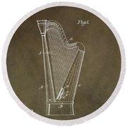 Antique Harp Patent Round Beach Towel