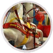 Antique Horse Cart Round Beach Towel by Michelle Calkins
