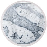 Antique Italy Map 1573 Round Beach Towel