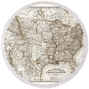 Antique Map 1853 United States Of America Round Beach Towel by Dan Sproul
