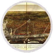 Antique Map Of Brooklyn Round Beach Towel