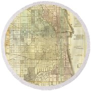 Antique Map Of Chicago Round Beach Towel