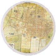 Antique Map Of Del Plano Oficial De La Ciudad De Mexico Round Beach Towel