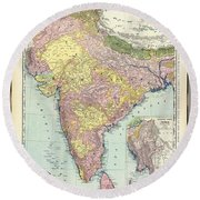 Antique Map Of India - Further India Round Beach Towel