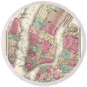 Antique Map Of New York City Round Beach Towel
