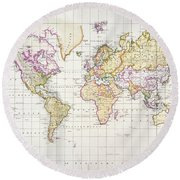 Antique Map Of The World Round Beach Towel by James The Elder Wyld
