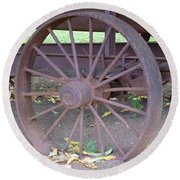 Antique Metal Wheel Round Beach Towel