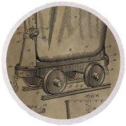 Antique Mining Trolley Patent Round Beach Towel