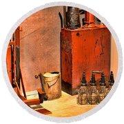 Antique Oil Bottles Round Beach Towel