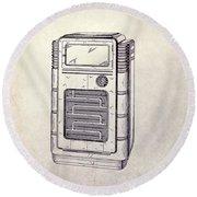 Antique Phonograph Cabinet Patent Round Beach Towel