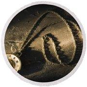 Antique Pocket Watch On Chain Round Beach Towel