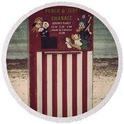 Antique Punch And Judy Round Beach Towel