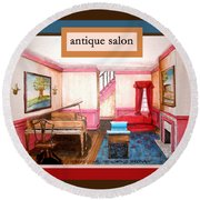 Antique Salon - Colonial Red And Blue Round Beach Towel