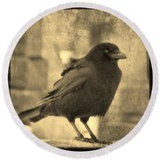 Antique Sepia Crow Round Beach Towel
