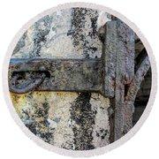 Antique Textured Metalwork Gate Round Beach Towel