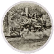 Antique Train Round Beach Towel