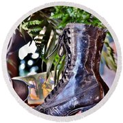 Antique Victorian Boots At The Boardwalk Plaza Hotel - Rehoboth Beach Delaware Round Beach Towel