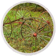 Antique Wagon Frame Round Beach Towel
