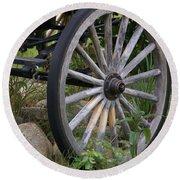 Antique Wagon Wheel  Round Beach Towel
