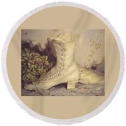 Antique Wedding Shoes Round Beach Towel