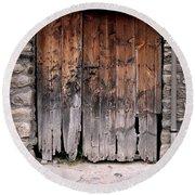 Antique Wood Door Damaged Round Beach Towel