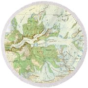 Antique Yosemite National Park Map Round Beach Towel