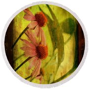 Antiqued Cone Flowers Round Beach Towel