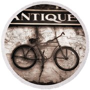 Antiques And The Old Bike Round Beach Towel by Bob Orsillo