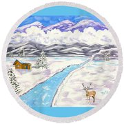 Antlers And Snow Round Beach Towel