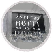 Antler's Hotel Front Door Ghost Town Victor Colorado 1971 1971-2013 Round Beach Towel