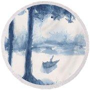 Antwerp Blue Landscape Watercolor Round Beach Towel