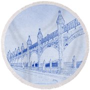Antwerp Railway Bridge Blueprint Round Beach Towel