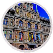Antwerp's City Hall Round Beach Towel