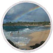 Anuenue - Aloha Mai E Hookipa Beach Maui Hawaii Round Beach Towel