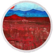 Anza-borrego Vista Original Painting Round Beach Towel