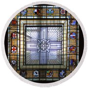 Anzac Day 2014 Auckland War Memorial Museum Stained Glass Roof Round Beach Towel