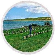 Anzak Cemetery Along The Dardenelles In Gallipolii-turkey Round Beach Towel