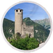 Aosta Valley - Chatelard Ruins Round Beach Towel