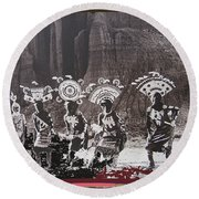 Apache Crown Dancers Date And Location Unknown 2013 Round Beach Towel
