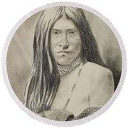 Apache Girl 1906 Round Beach Towel