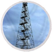 Apalachee Fire Tower In Morgan County Round Beach Towel