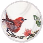 Apapane - Native Hawaiian Bird Round Beach Towel