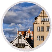 Apartment Houses In Gdansk Round Beach Towel