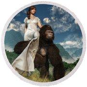 Ape And Girl Round Beach Towel