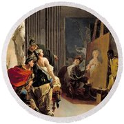 Apelles Painting The Portrait Of Campaspe Round Beach Towel