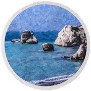 Aphrodites Rock Cyprus Round Beach Towel
