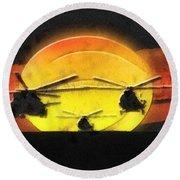 Apocalypse Now Round Beach Towel by Mo T